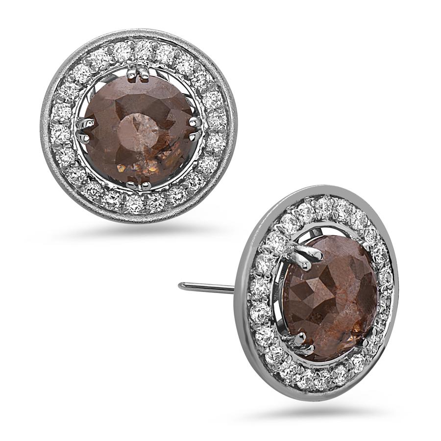 Rose Cut Gray Diamond Earring