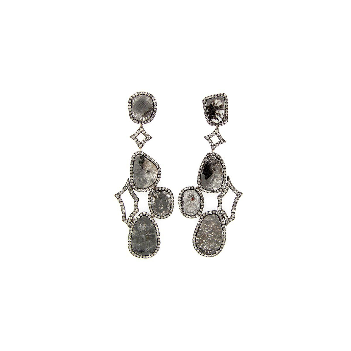Rose Cut Slice Fancy Color Diamond Earring