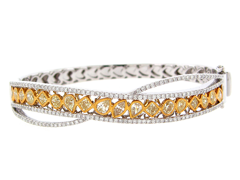 Yellow & White Diamond Bangle