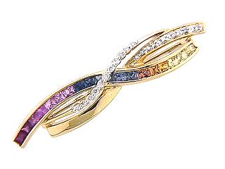 Rainbow Sapphire & Diamond Brooch
