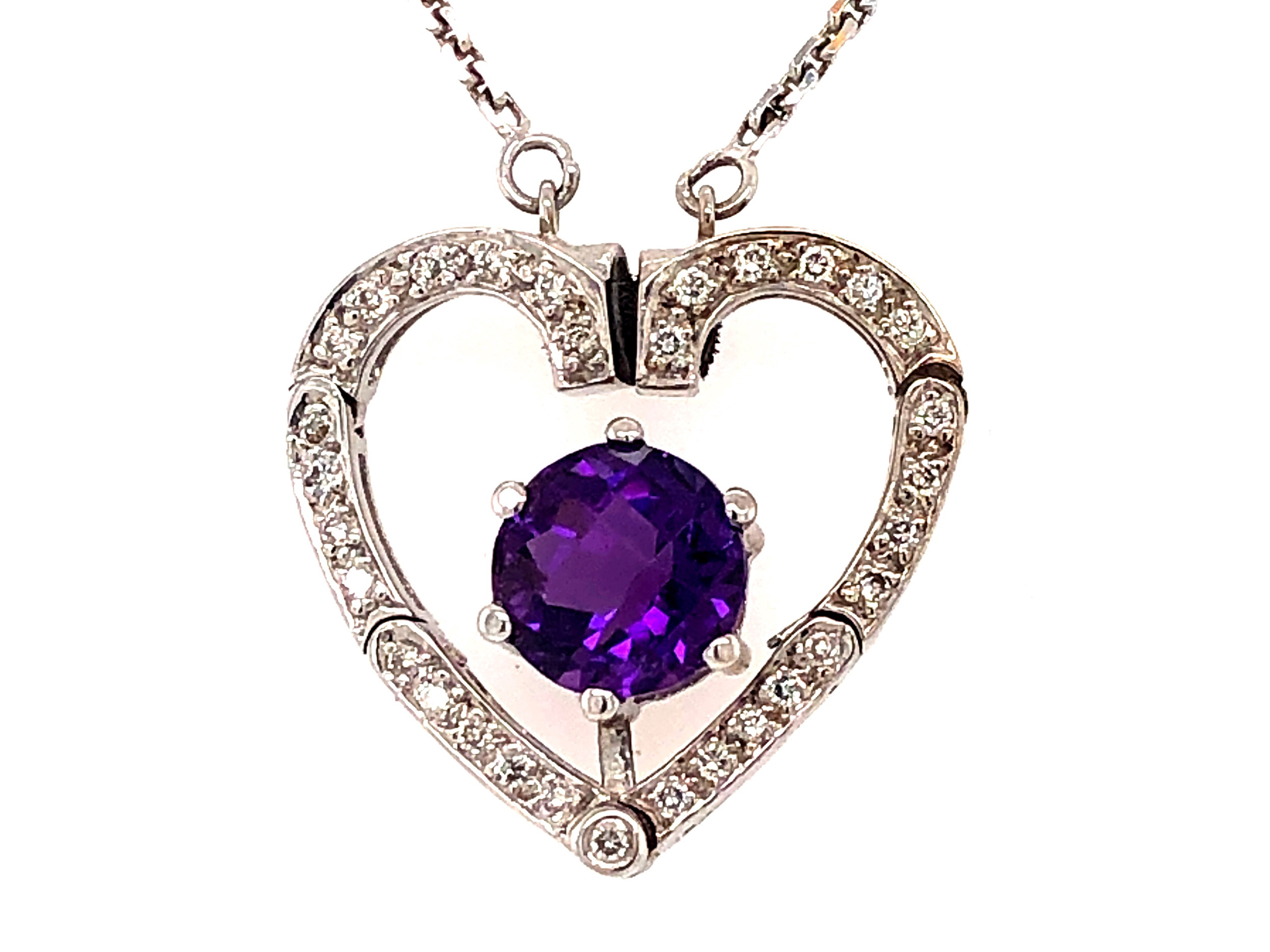 Amethyst & Diamond Heart Convertible Necklace