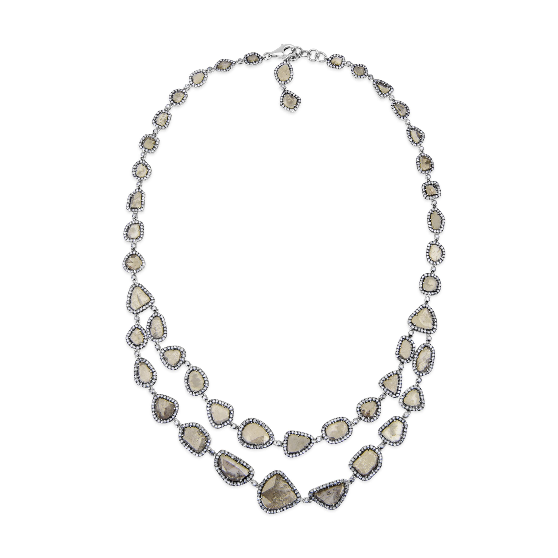 Rose Cut Slice Fancy Gray Diamond Necklace