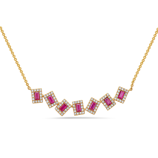 Ruby & Diamond Pivoting Necklace