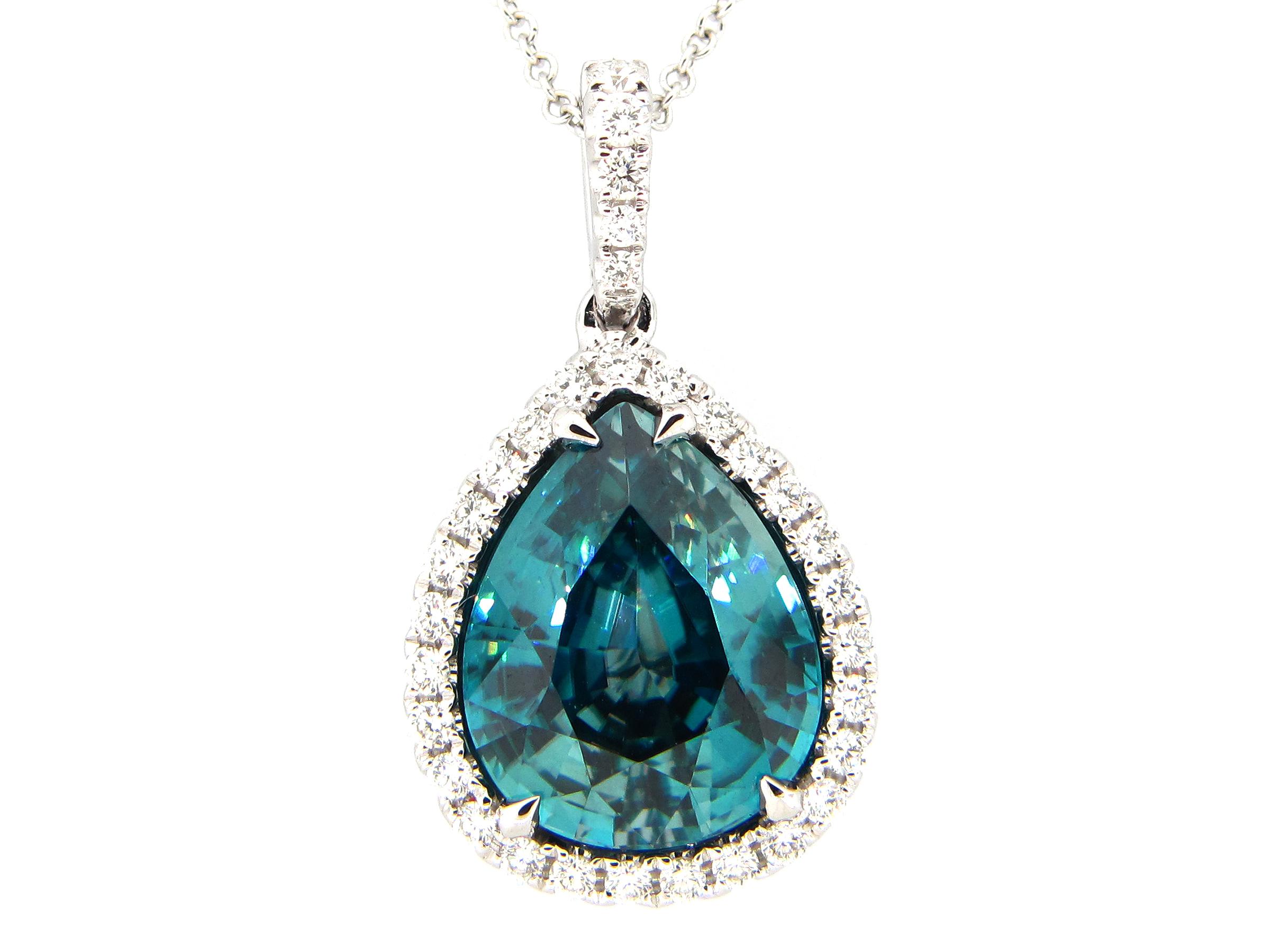 Blue Zircon & Diamond Pendant