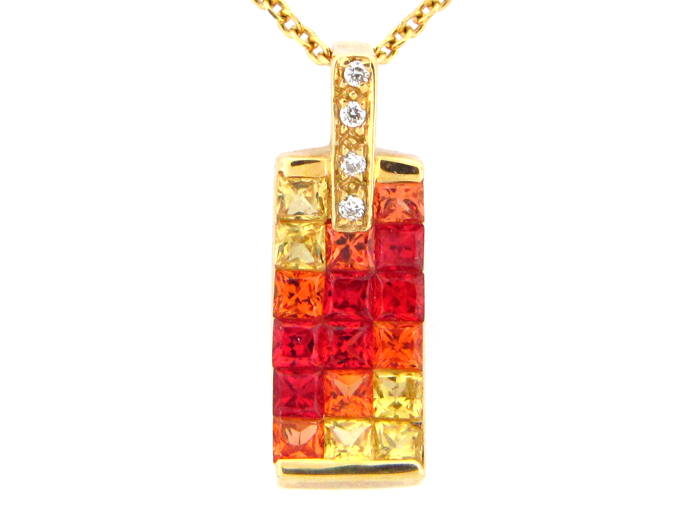 Exotic - Shades of Orange Sapphire Pendant