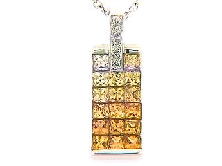Orange & Yellow Sapphire & Diamond 3 Row Invisible