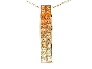 Orange & Yellow Sapphire 2 Row Invisible Bar Pendant