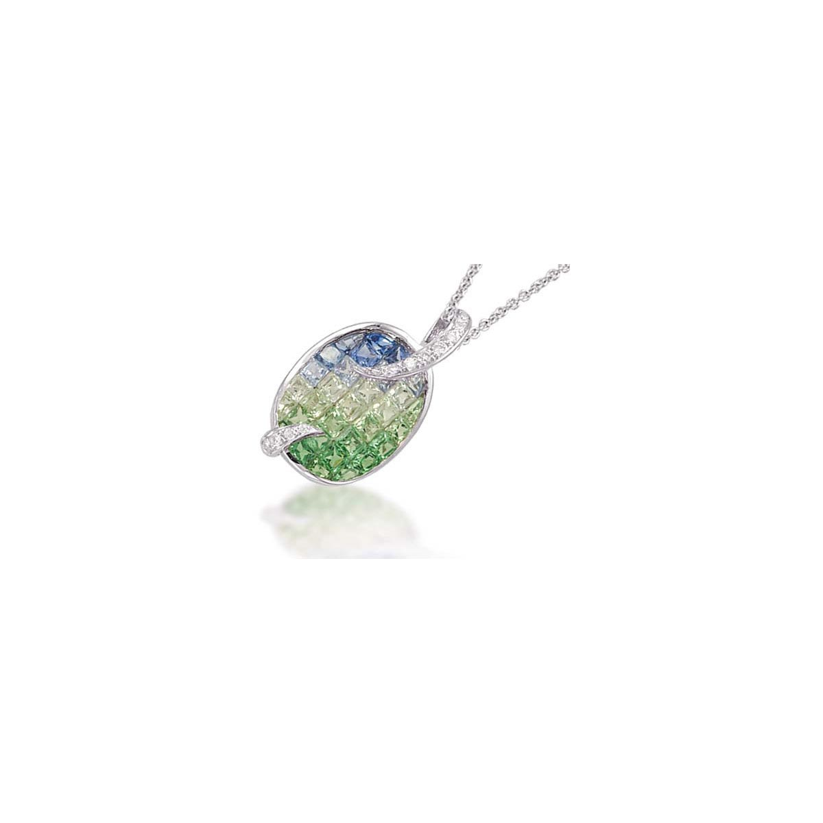 Blue Sapphire & Tsavorite Pendant