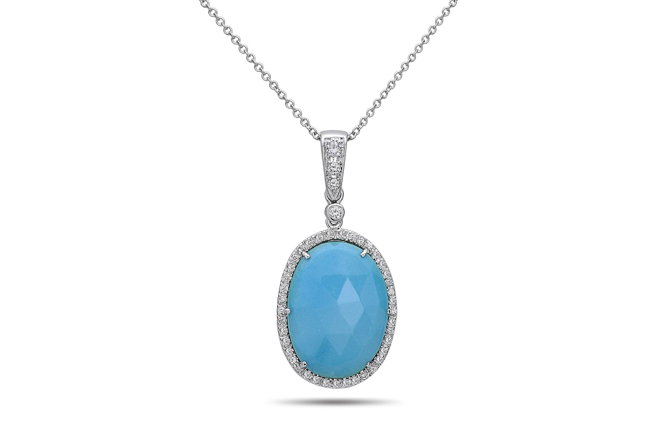 Turquoise & Diamond Pendant