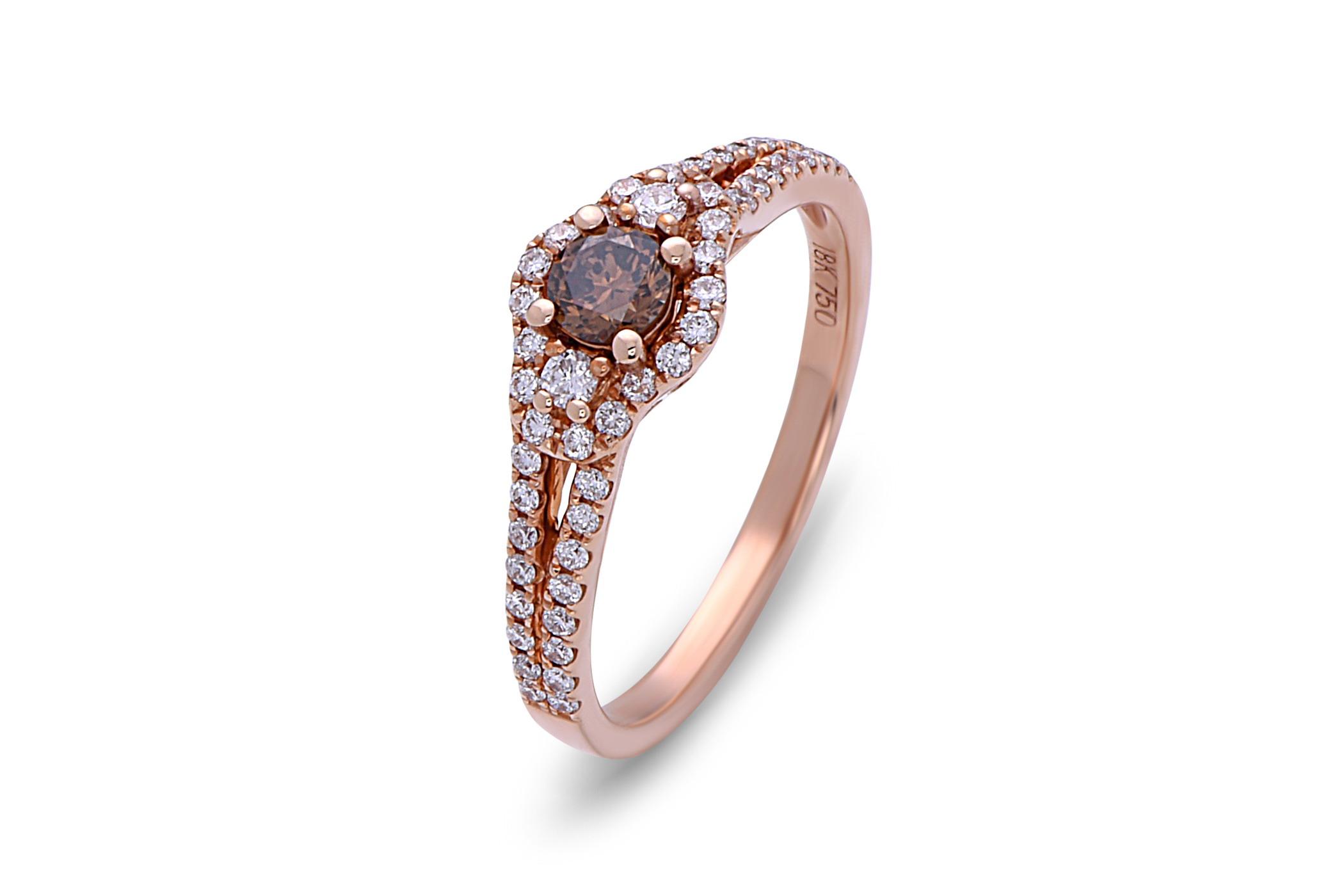 Brown Diamond Center Stone Ring