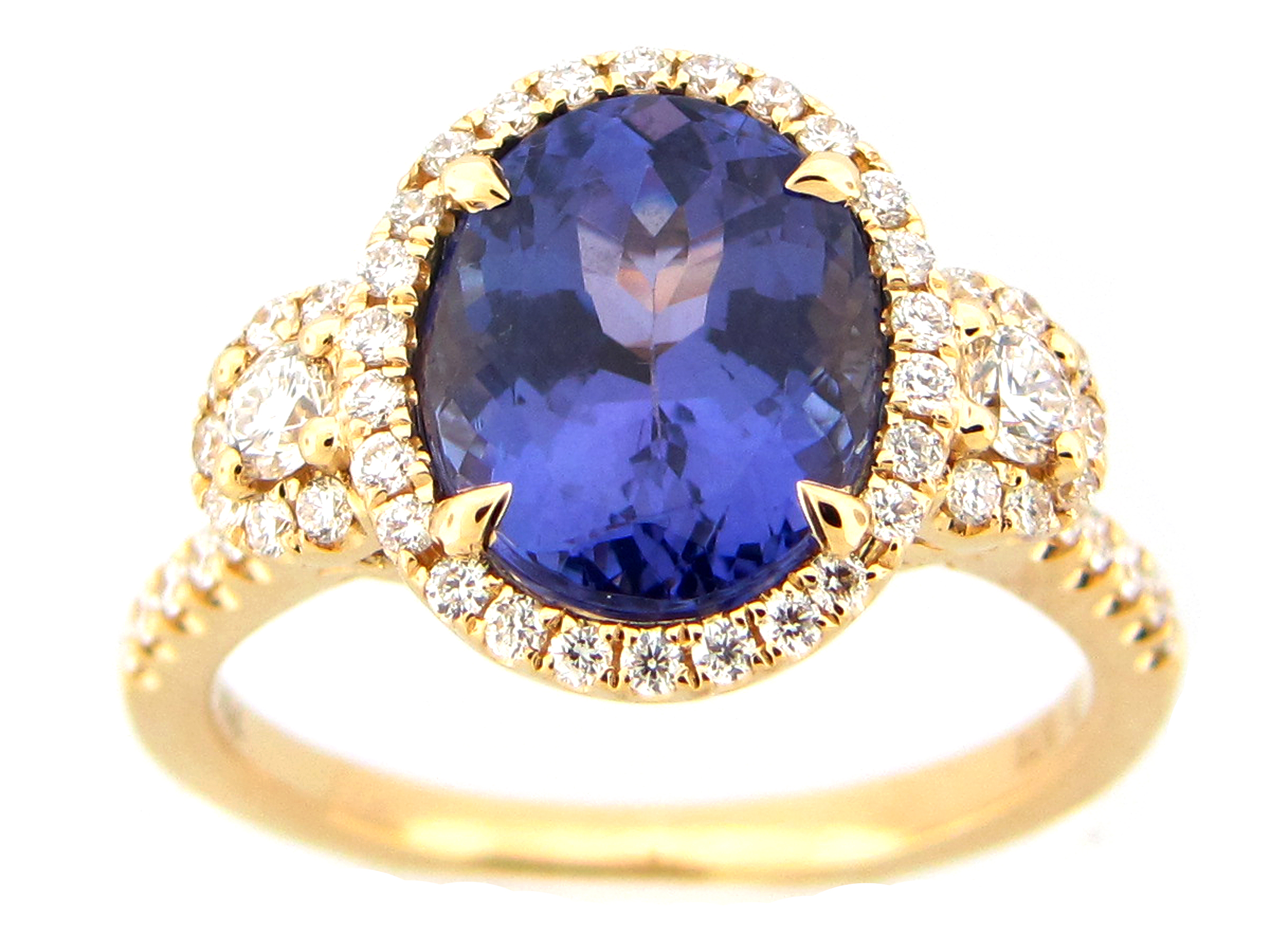 Tanzanite & Diamond Halo Ring