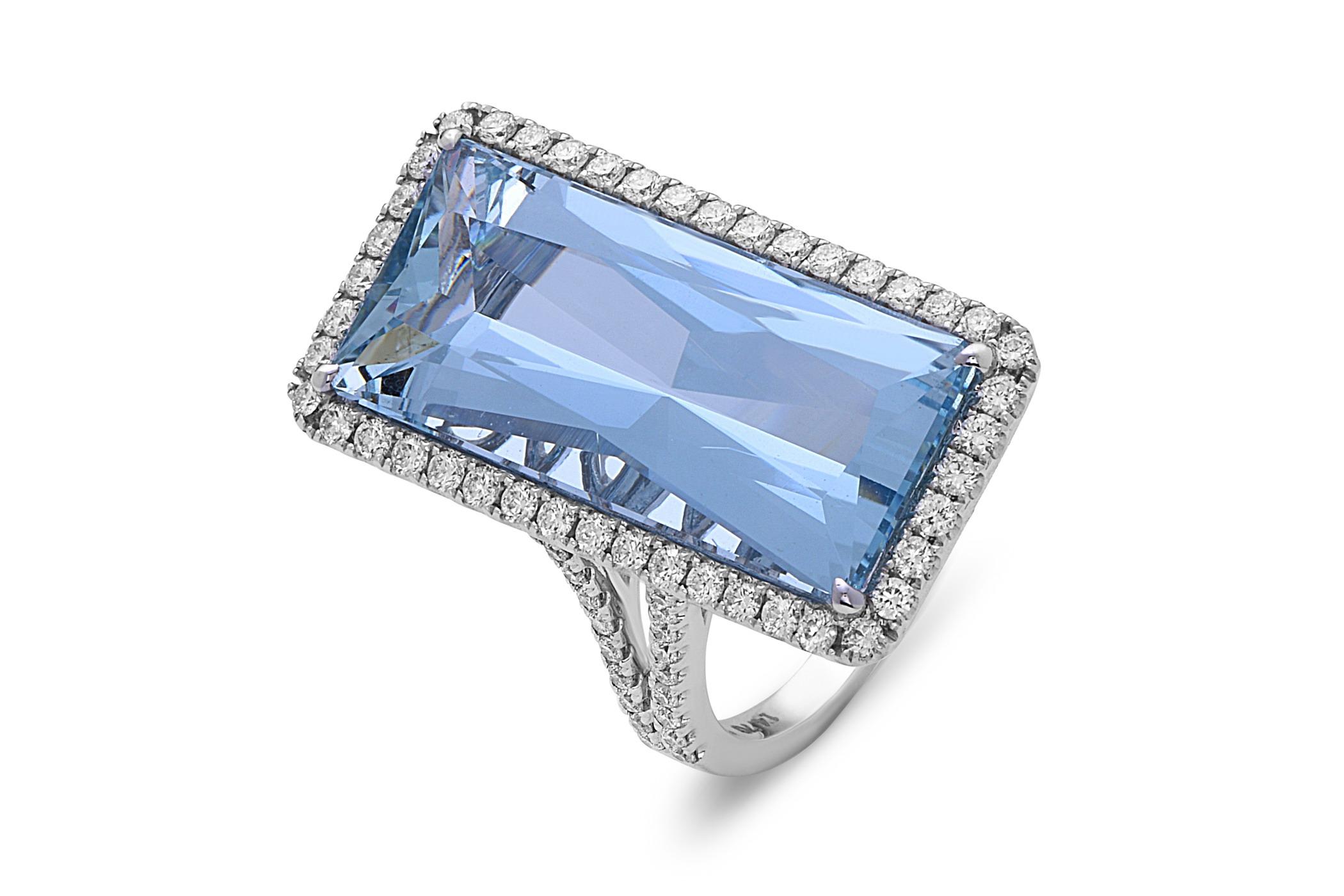 Aquamarine Emerald Cut Ring