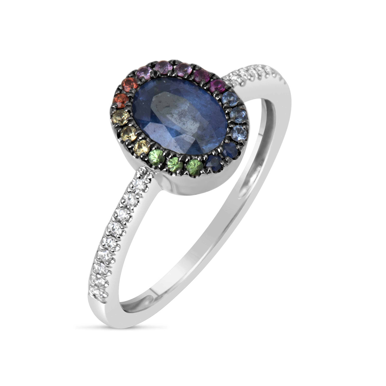 Sapphire & Rainbow Ring