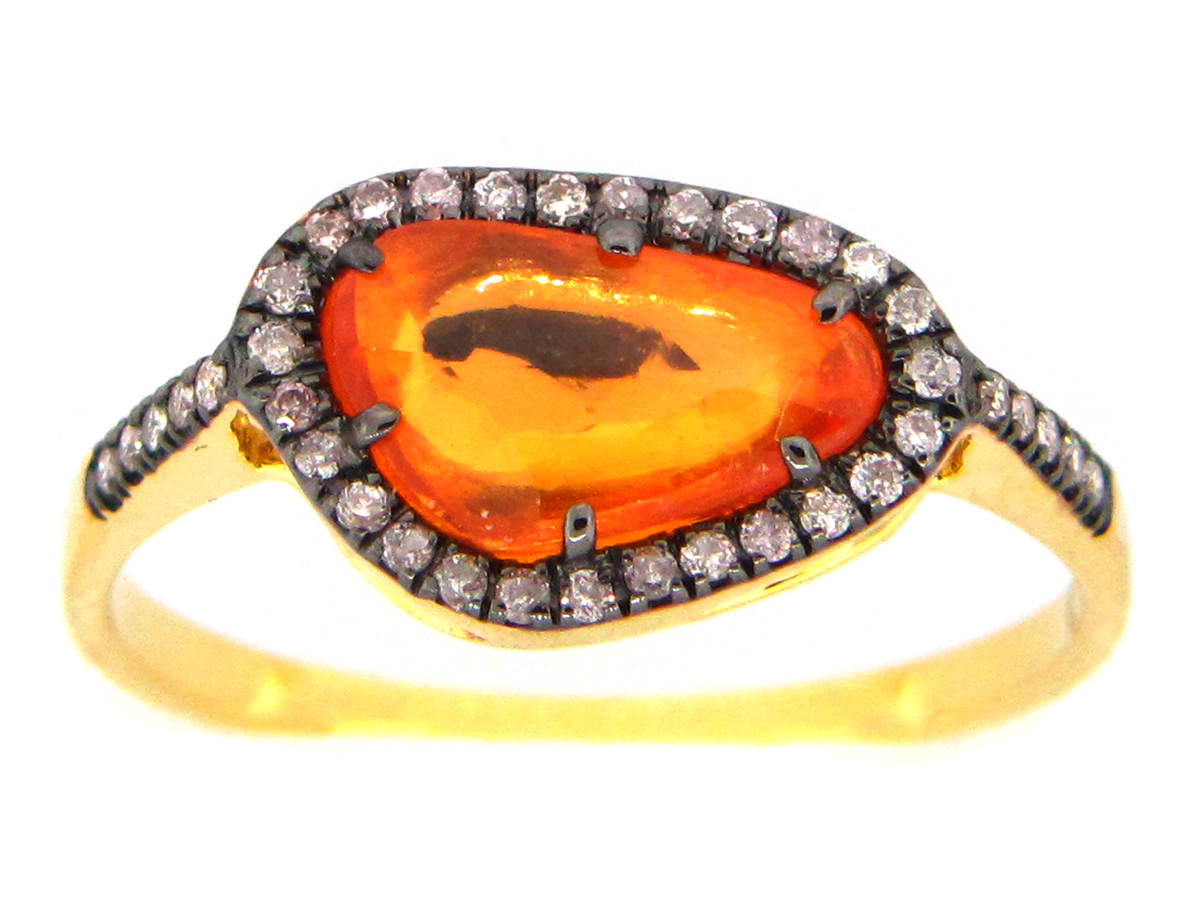 Rose Cut Orange Sapphire & Diamond Ring