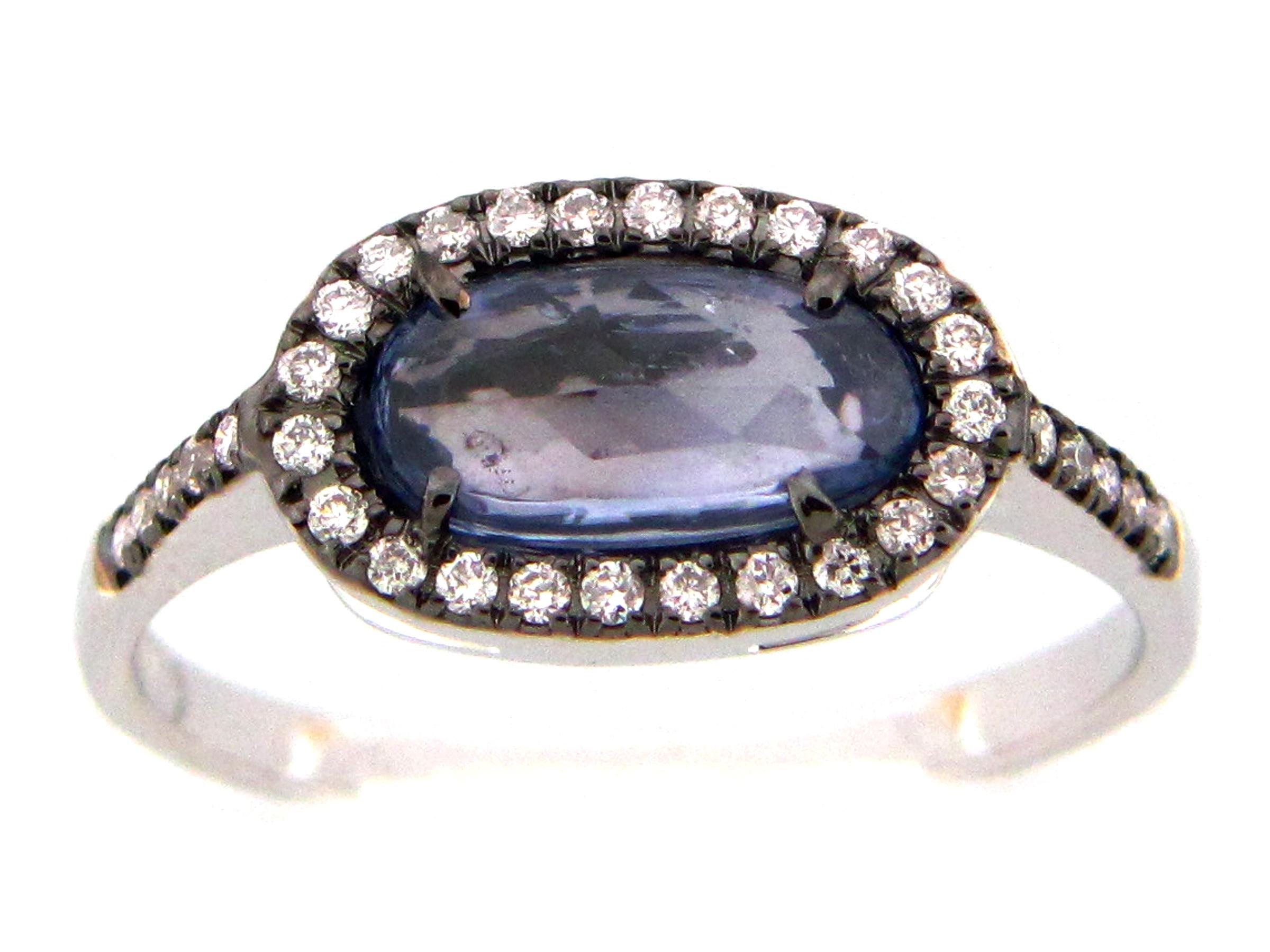 Rose cut Sapphire & Diamond Ring