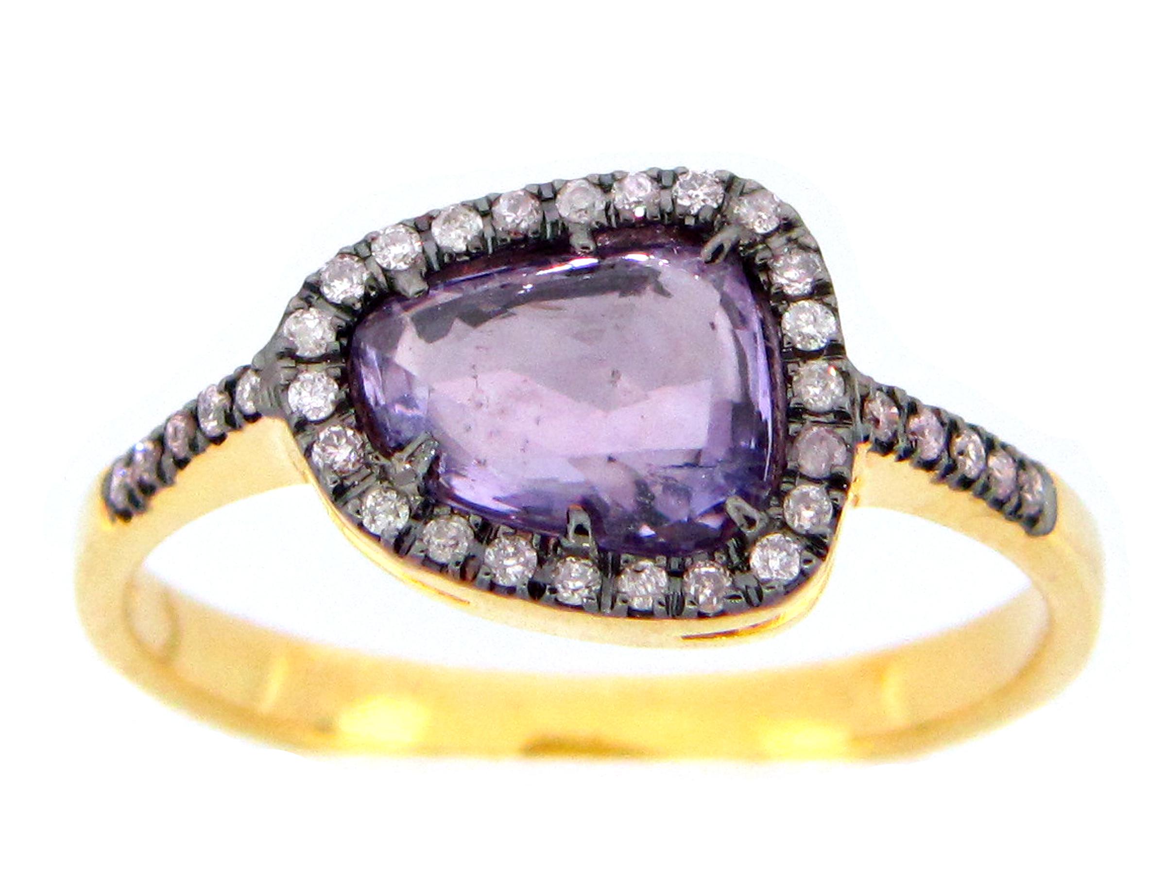 Purple Sapphire Slice Ring