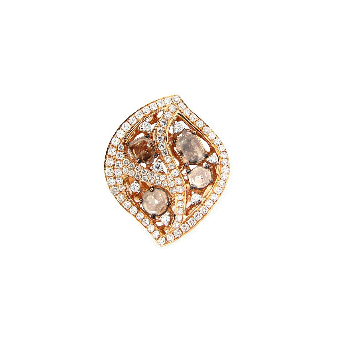 Rose Cut Brown Slice Diamond Ring