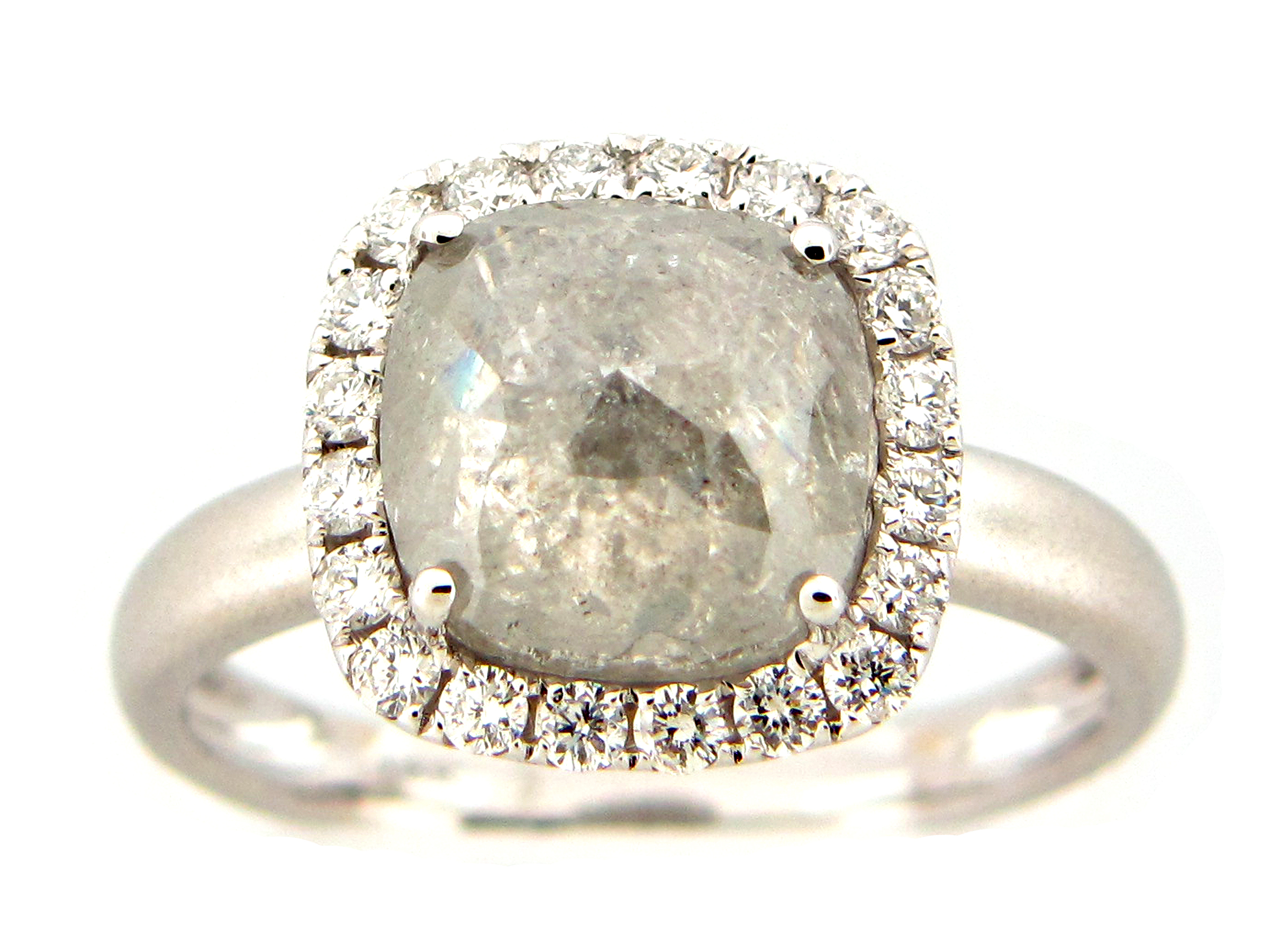 Cushion Gray Diamond Center Ring
