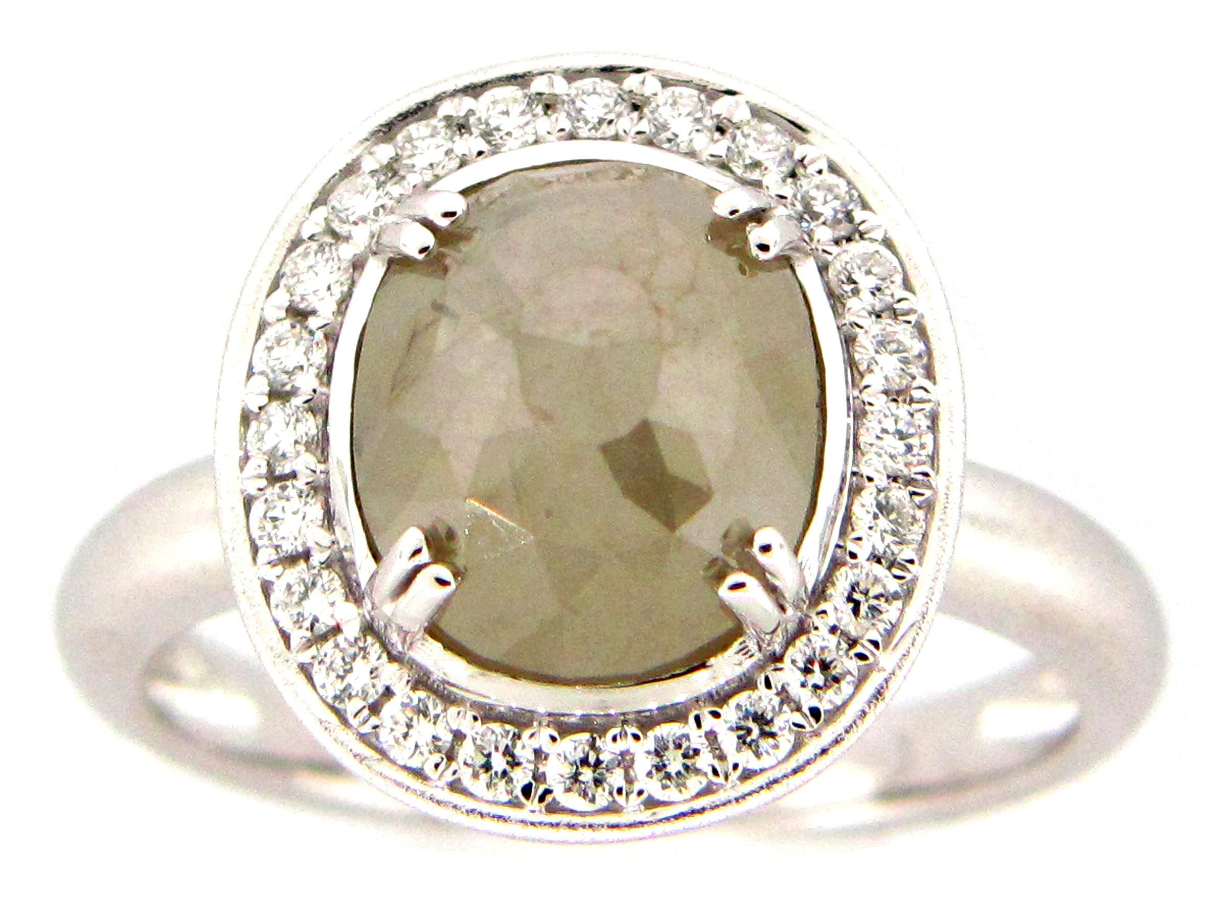 Gray-Green Rose Cut Diamond Ring