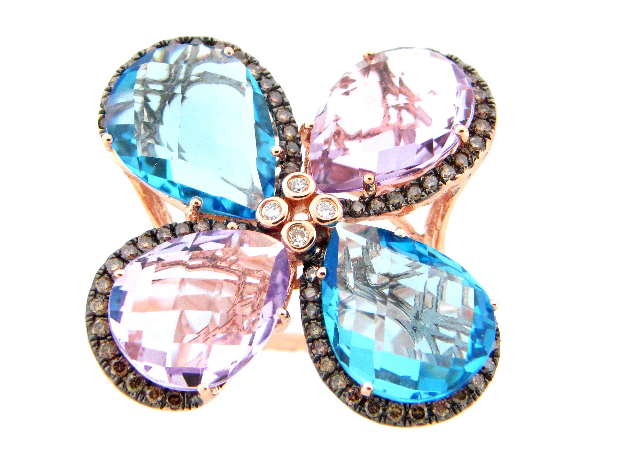 Gemstone & Diamond Flower Ring