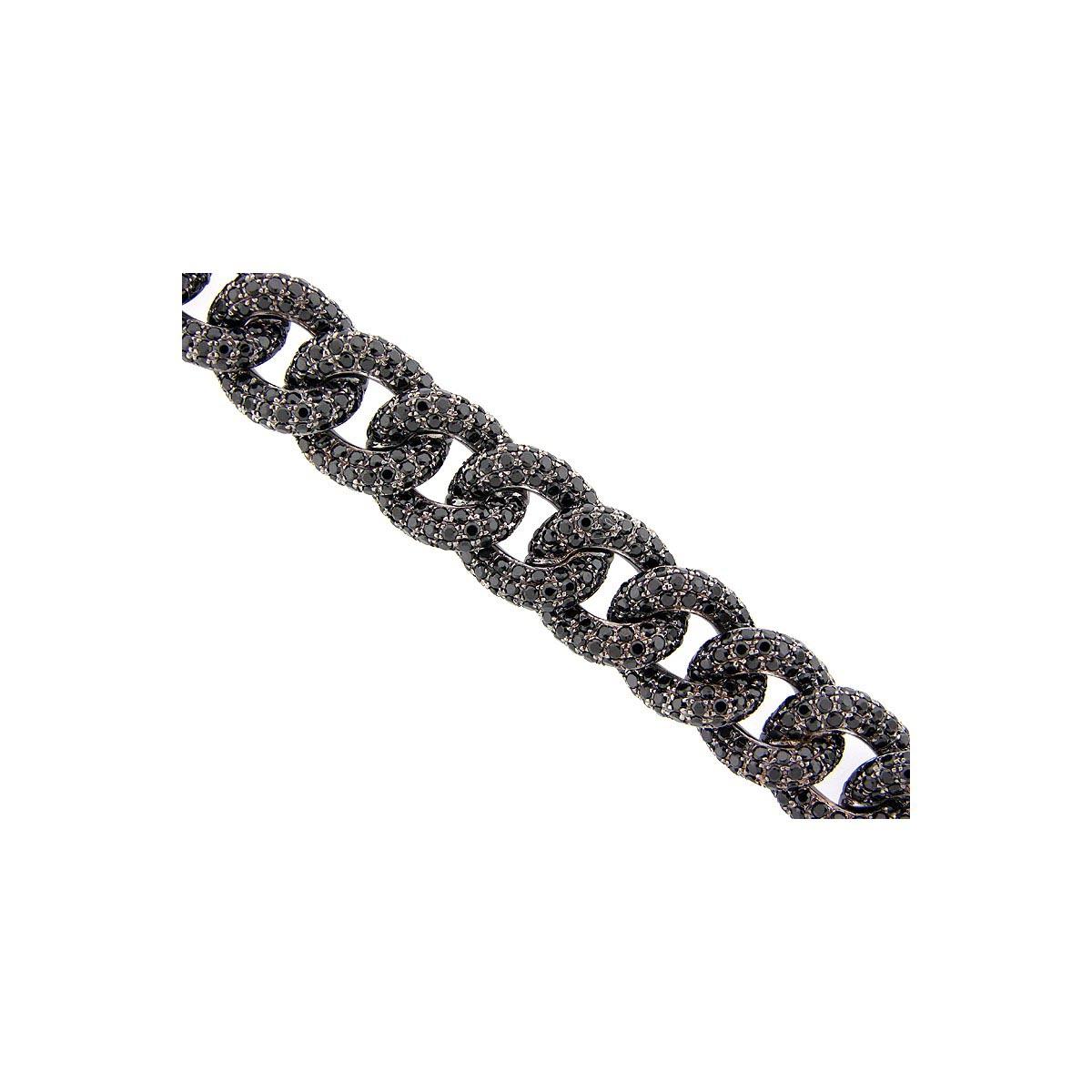 Black Spinel Pave Sterling Silver Bracelet