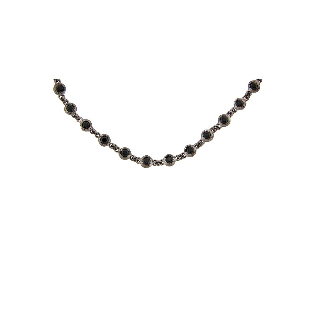 Black Spinel Sterling Silver 40 Chain