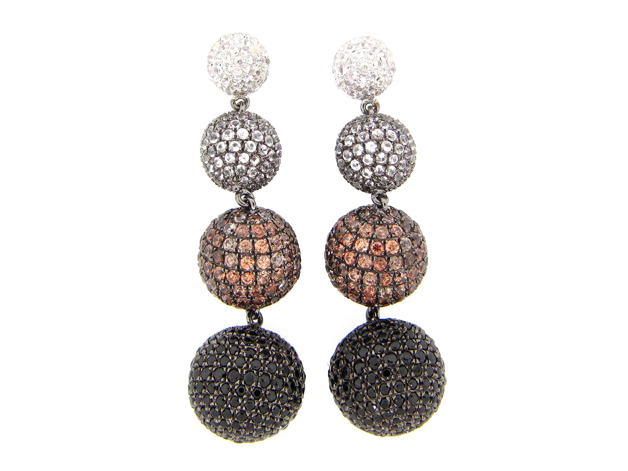 Mixed Gem Ball Earrings