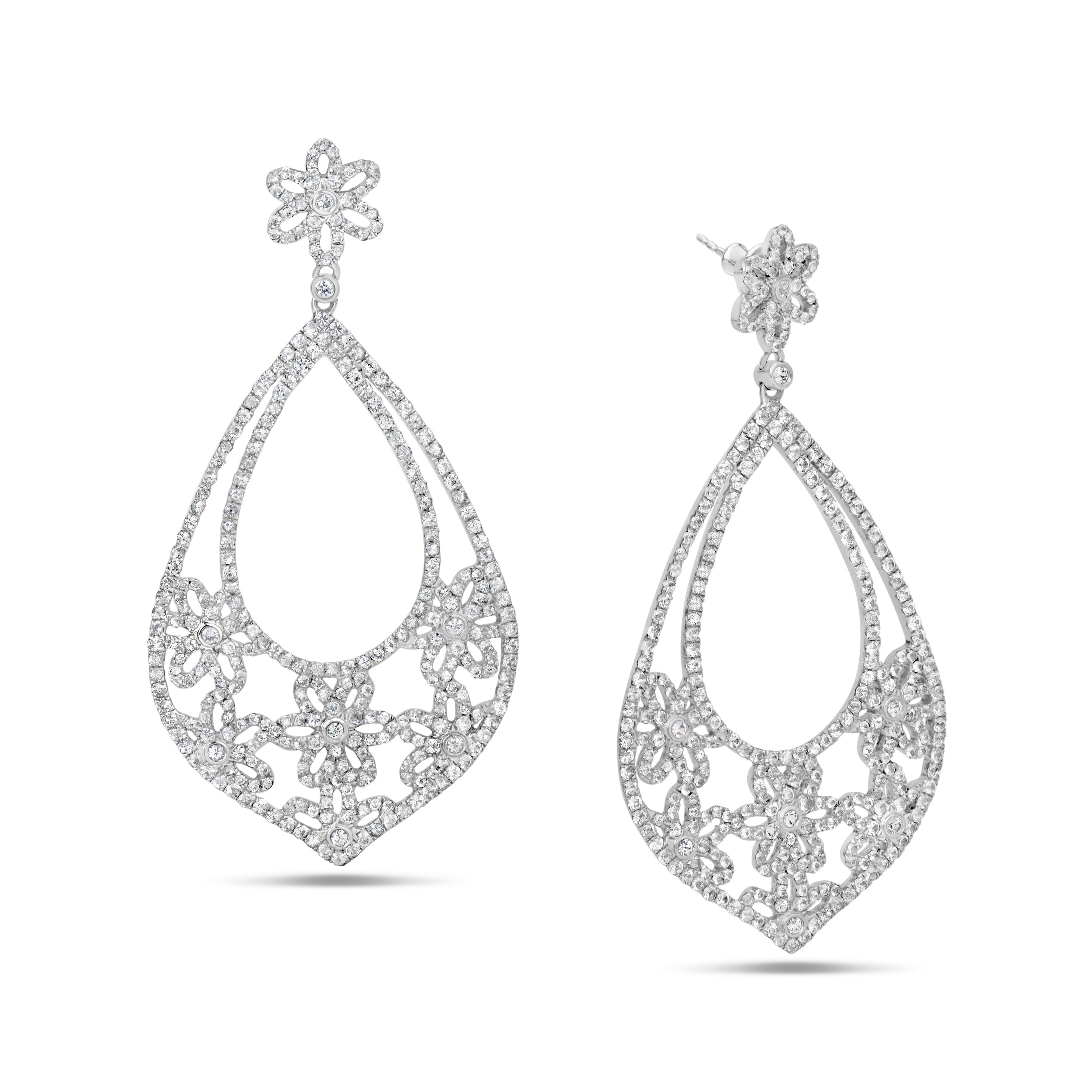 White Sapphire Floral Earrings