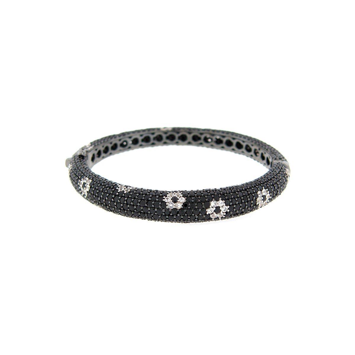 Black Spinel & White Sapphire Bangle