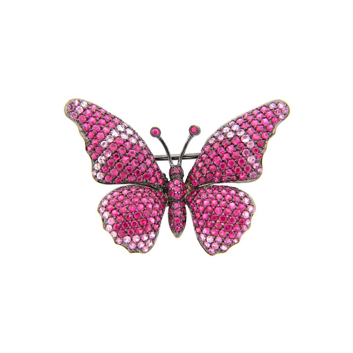 Pink Sapphire Butterfly Broach