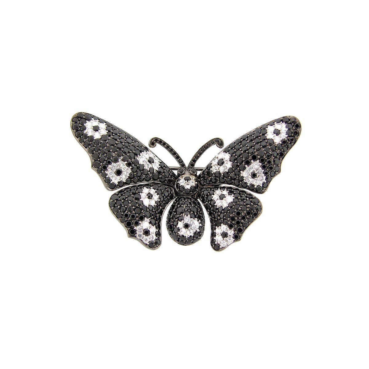 Black Spinel & White Sapphire Broach