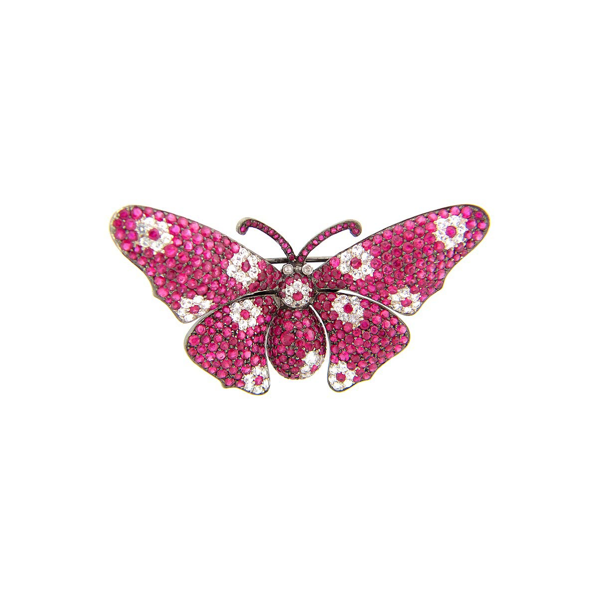 Ruby & White Sapphire Butterfly Broach