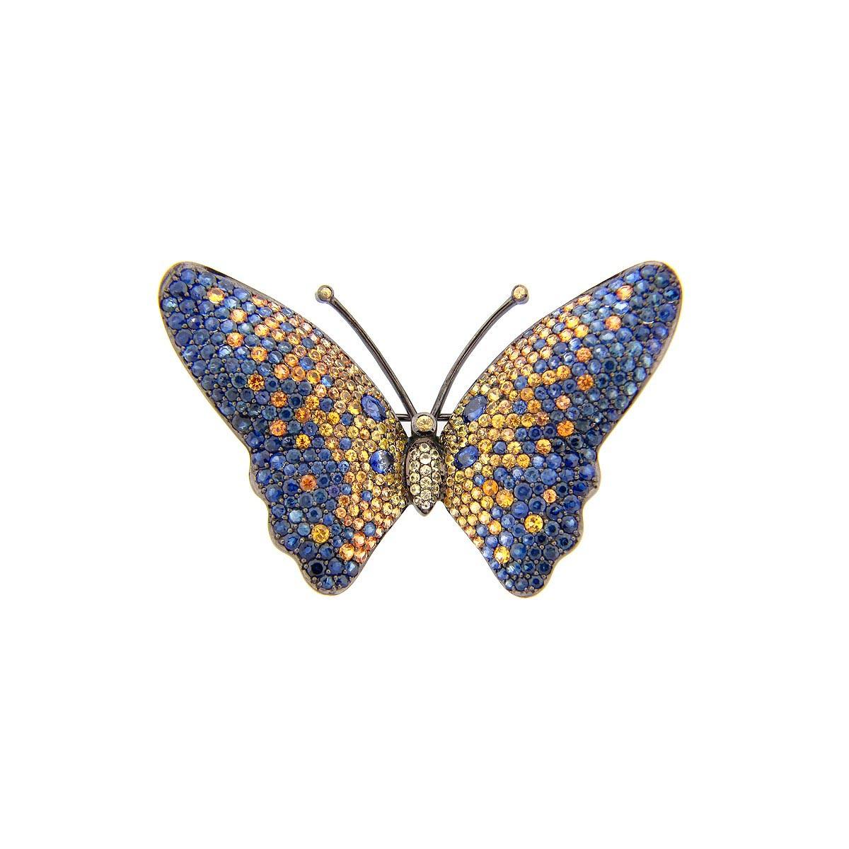 Blue & Yellow Sapphire Broach