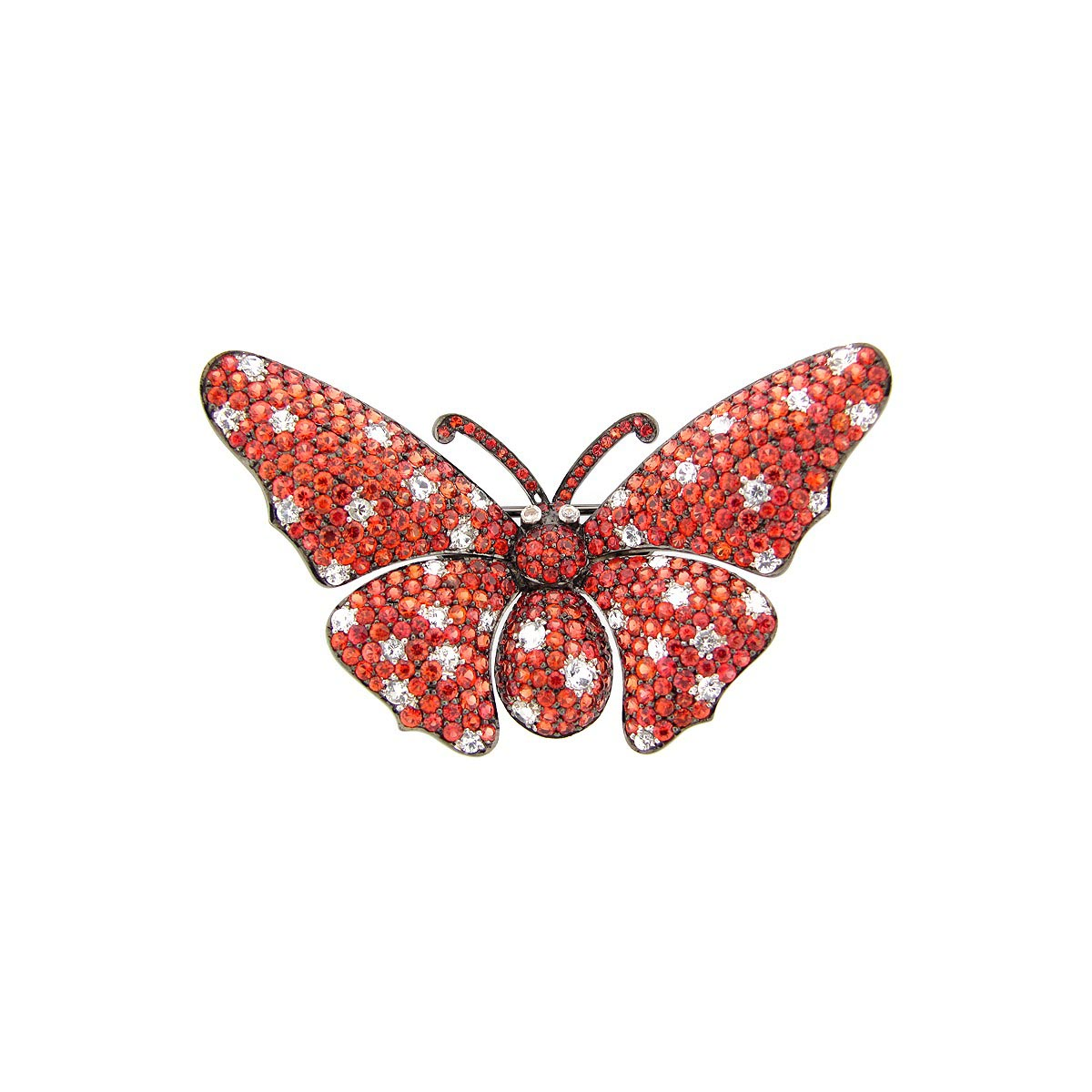 Orange & White Sapphire Broach