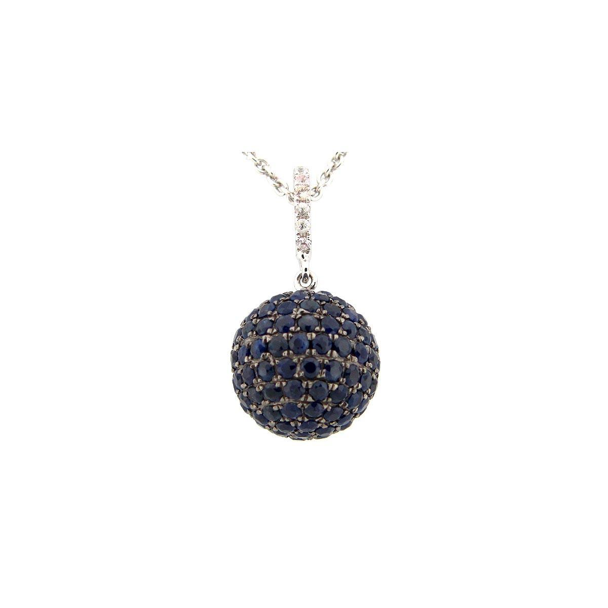 12MM Blue & White Sapphire Ball Pendant