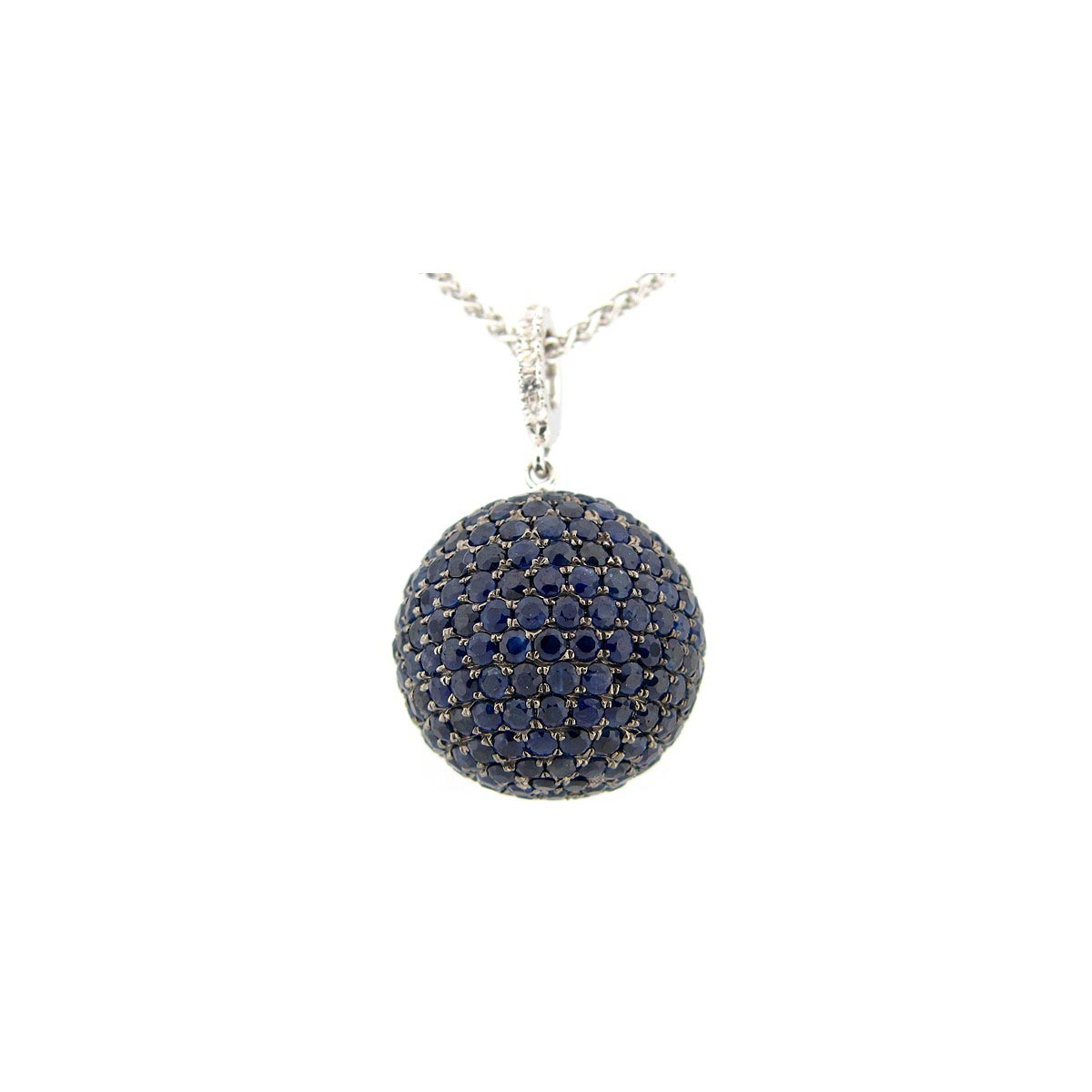 17MM Blue & White Sapphire Ball Pendant with a 20 Chain