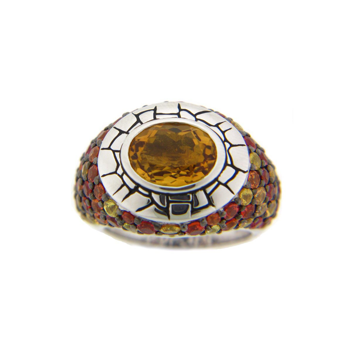 Citrine & Orange Sapphire Pave Sterling Silver Ring