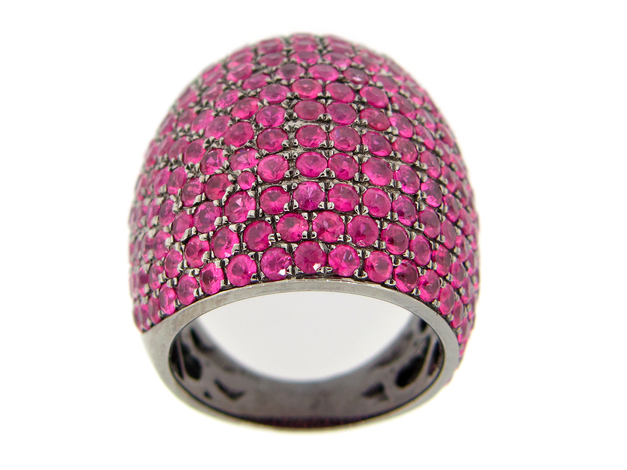 Pink Sapphire Pave Dome Ring