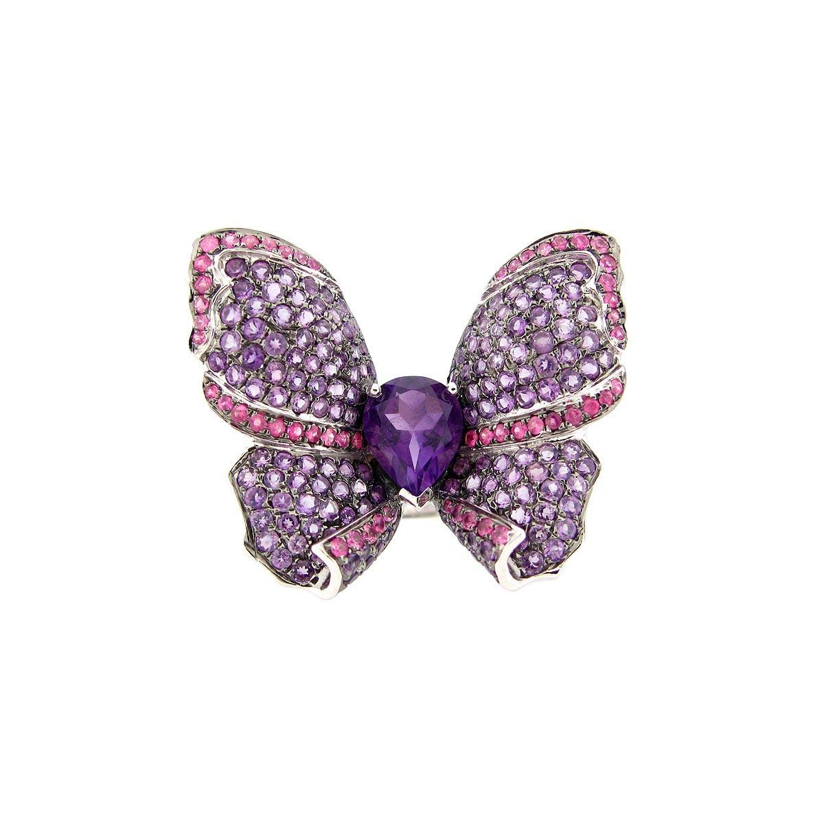 Pink Sapphire & Amethyst Ring