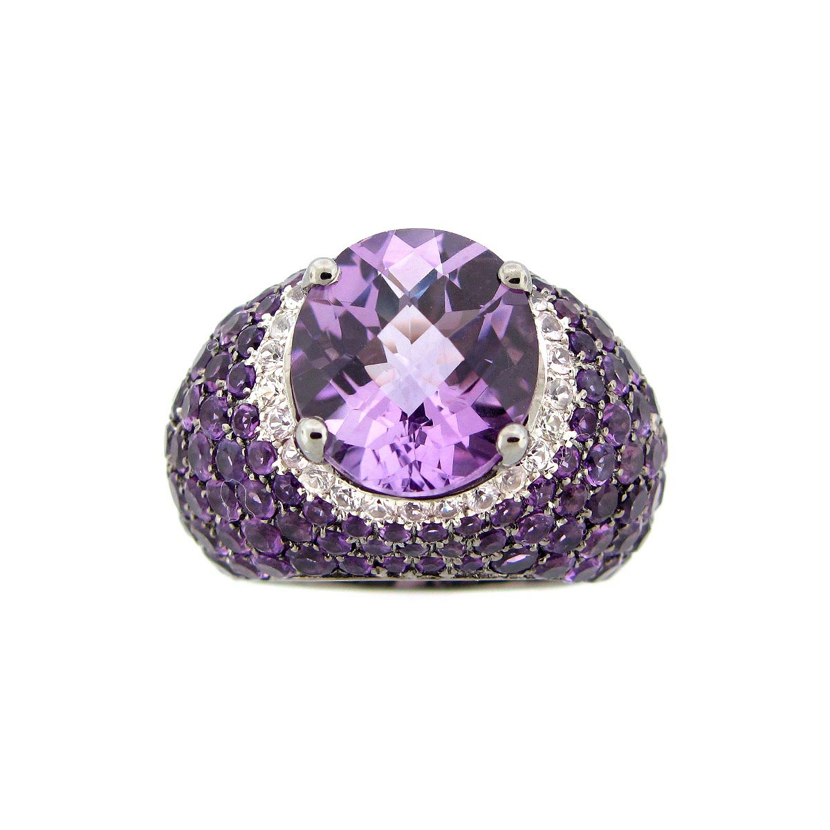 Amethyst & White Sapphire Ring