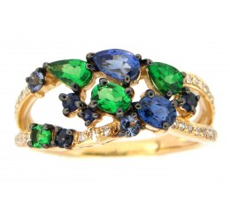 Mixed Gem and Diamond Ring