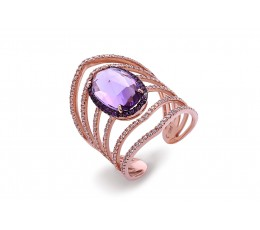 Amethyst & Diamond Lattice Ring