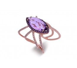 Amethyst & Diamond Lattice Ring