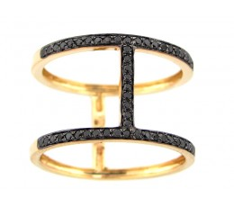 Black Diamond Couplet Ring