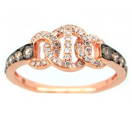 Brown & White Diamond Link Ring