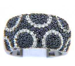 Micro-Pave Black & White Diamond Ring