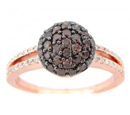 Brown White Diamond Pave Ball Ring
