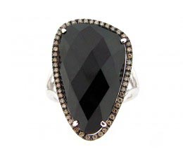 Black Onyx, Brown & White Diamond Ring