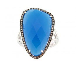 Blue Agate, Brown & White Diamond Ring