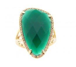 Green Agate & Brown Diamond Ring